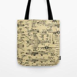 F-18 Blueprints // Tan Tote Bag
