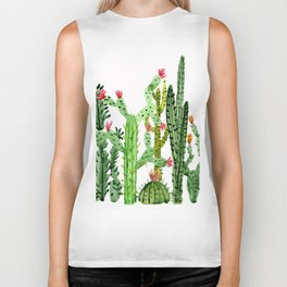 Green Simple Cacti Biker Tank