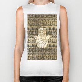 Faux Print Gold Hamsa Hand and Tribal Aztec Biker Tank