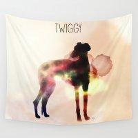 greyhound Wall Tapestries featuring Twiggy greyhound by Ingrid Winkler