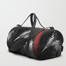 Kingfisher 1b.  White on black  background-(Red eyes series) Duffle Bag