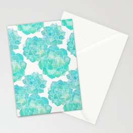 Rosette Succulents – Turquoise Palette Stationery Cards