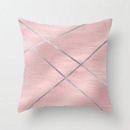 Modern Pink & Silver Line Art Throw Pillow