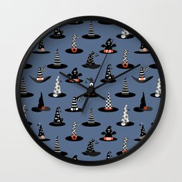 Halloween Witch Hats on Purpple Wall Clock