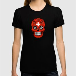 Sugar Skull with Roses and Flag of Switzerland T-shirt
