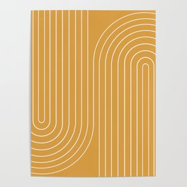 Minimal Line Curvature - Golden Yellow Poster