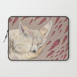 Fennec Fox Feather Dreams in Taupe Laptop Sleeve