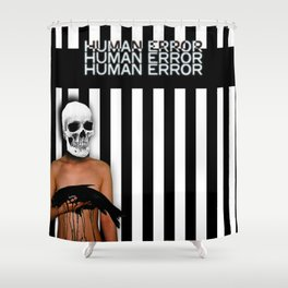 Human Error Skull Holding Fish Covered in Oil Shower Curtain