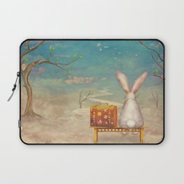 Sad rabbit  with suitcase sitting on the bench on the cloud in sky  Laptop Sleeve