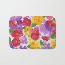 Artistic Watercolor Floral Pattern Bath Mat