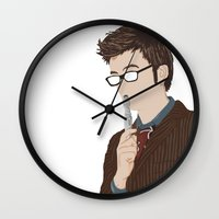 david tennant Wall Clocks featuring Doctor Who David Tennant by  Steve Wade ( Swade)