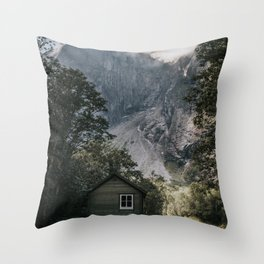 Mountain Cabin - Landscape and Nature Photography Throw Pillow