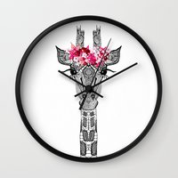 flower Wall Clocks featuring FLOWER GIRL by Monika Strigel