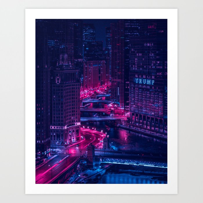 Chicago drawbridges Art Print