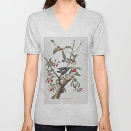 Downy woodpecker, Birds of America, Audubon Plate 112 Unisex V-Neck