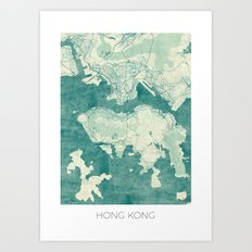 Hong Kong Map Blue Vintage Art Print