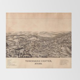 Aerial View of Townsend Center, Massachusetts (1889) Throw Blanket
