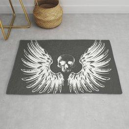 Grey & White Rock Angel Wings Skull Rug