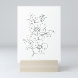 Floral one line drawing - Rose Mini Art Print