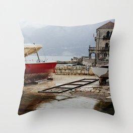 Rainy day in Perast Throw Pillow