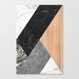 Marble and Wood Abstract Canvas Print