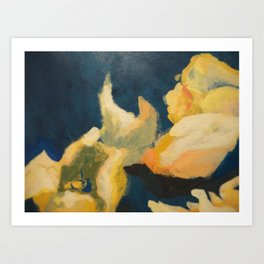 Floral blue and yellow detail Art Print