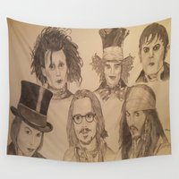 johnny depp Wall Tapestries featuring Johnny Depp by Virginieferreux