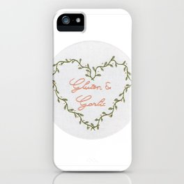 Gluten and Garlic Hand Embroidery iPhone Case