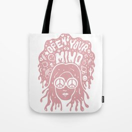 Open Your Mind in pink Tote Bag