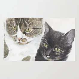 Two cats - tabby and tortie Rug