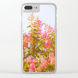 Pink Crepe Myrtle Flowers Clear iPhone Case