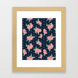 Brooklin - Navy dots floral bouquet minimal boho abstract flowers Framed Art Print