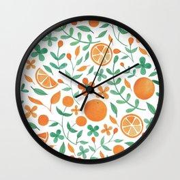 Oranges, Flowers, Leaves Wall Clock