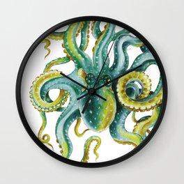Octopus Tentacles Green Watercolor Art Wall Clock