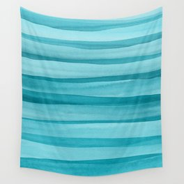 Teal Watercolor Lines Pattern Wall Tapestry