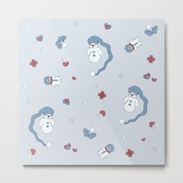 Snow boy pattern Metal Print