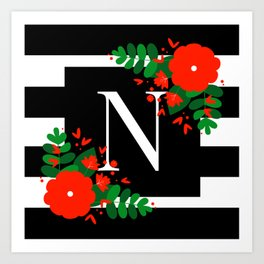 N - Monogram Black and White with Red Flowers Art Print