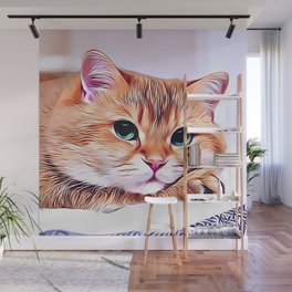 Bored Lonesome Cat Wall Mural