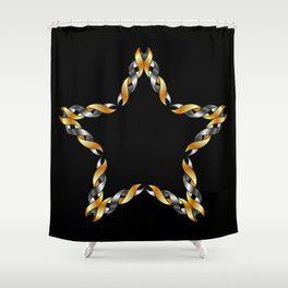 A decorative Celtic fractal flower in metallic colors Shower Curtain