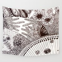 zentangle Wall Tapestries featuring Zentangle by Marisa Toussaint