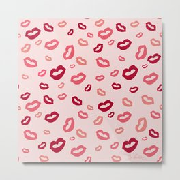 Pnk and Red Kisses with pink background Metal Print