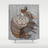 ornate Shower Curtains featuring Ornate Armadillo by ArtLovePassion