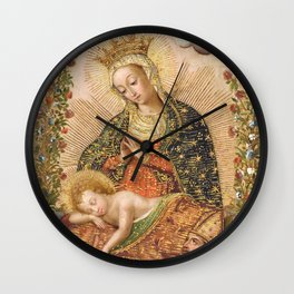 The Virgin Adoring the Christ Child with Two Saints Wall Clock