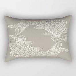 Gray Grey Alabaster Koi Fishes Rectangular Pillow