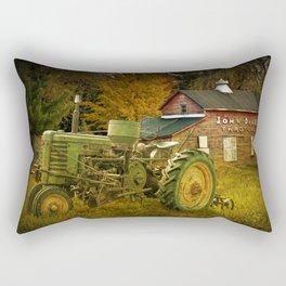 Old Vintage John Deere Tractor on a Farm Rectangular Pillow