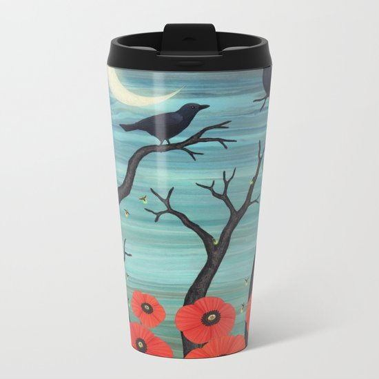 crows, fireflies, and poppies in the moonlight Metal Travel Mug