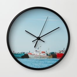 Boats and Turquoise sky Wall Clock