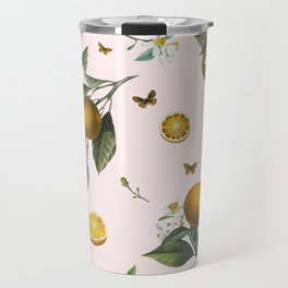 Oranges and Butterflies in Blush Travel Mug