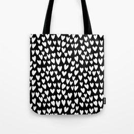 Linocut printmaking hearts pattern minimalist black and white heart gifts Tote Bag