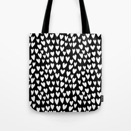 Linocut printmaking hearts pattern minimalist black and white heart gifts Tote Bag
